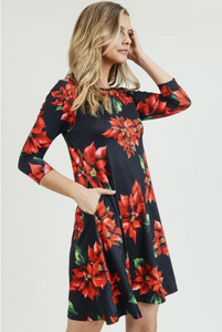 Poinsettia Swing Dress