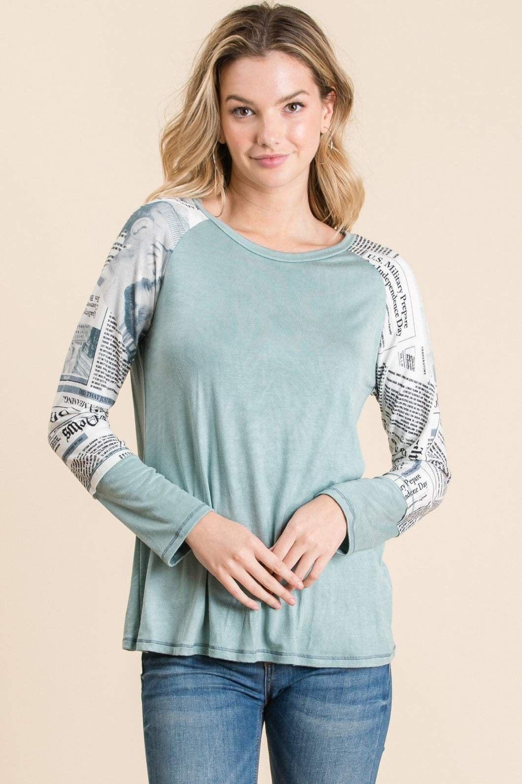 Soft Headlines Long Sleeve Top