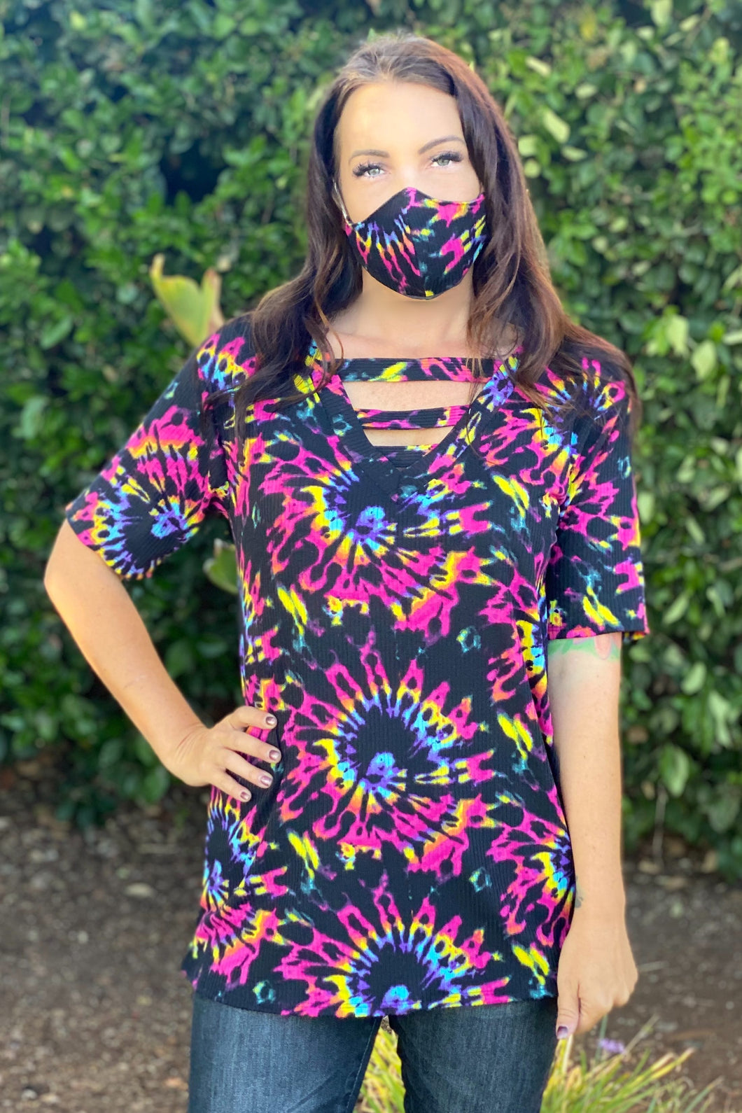 Burst of Color Short Sleeve Top