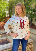 Load image into Gallery viewer, Cherries Jubilee 3/4 Sleeve Top
