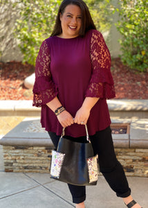 Wine and Lace Bell Sleeve Top
