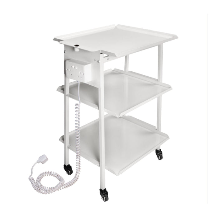 3-Shelf Metal Trolley Cart with Twin Electrical Socket