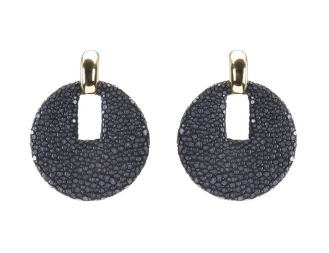 Shagreen Dish Earrings