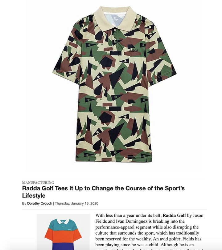 Radda Golf Featured in California Apparel News