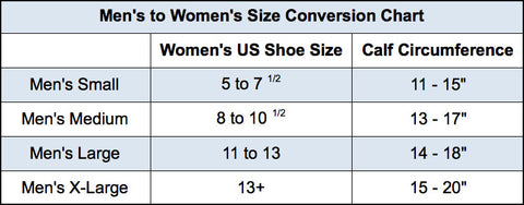 mens to womens size conversion chart