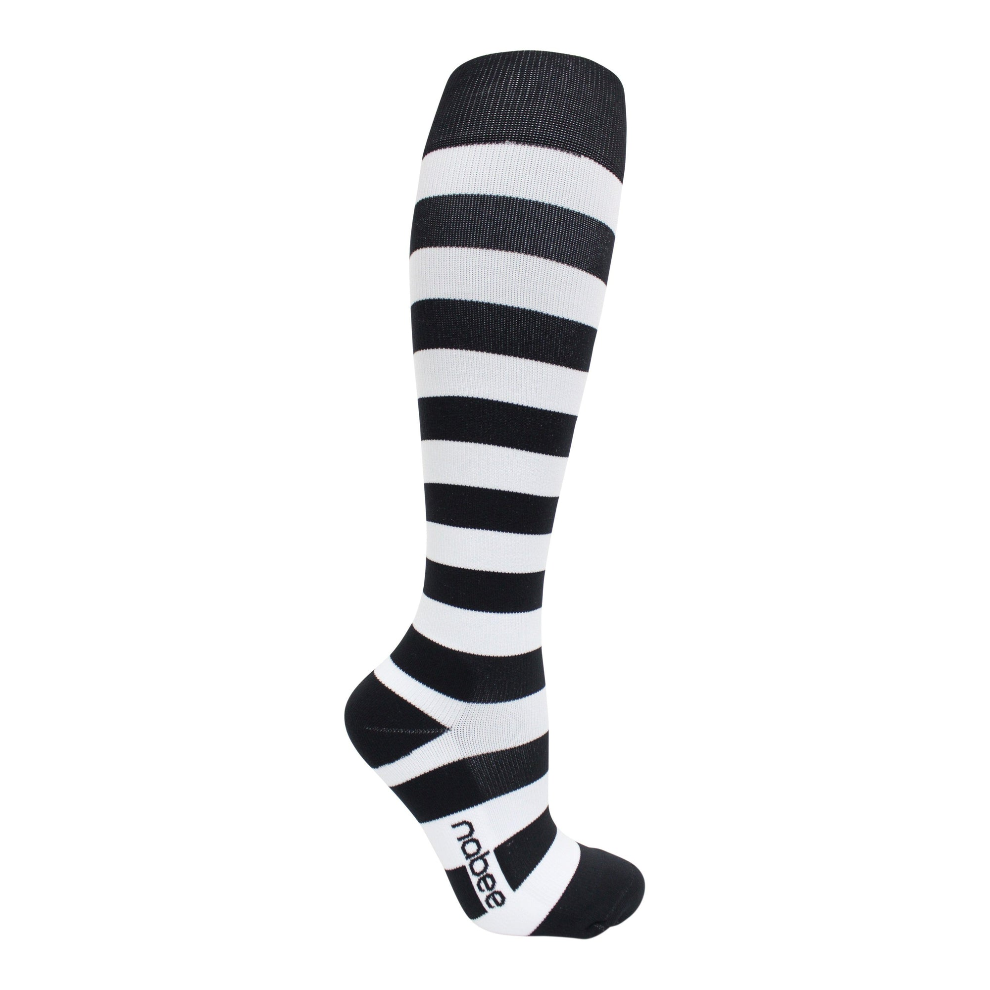Compression Socks - Black & White Stripe - (20-30mmHg)