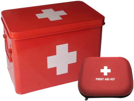Medical Red Metal Storage Box