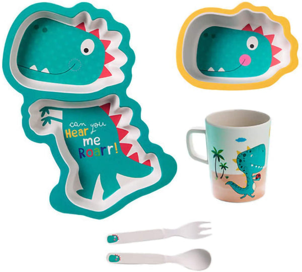Bamboo Dinosaur Dinnerware Set for Kids