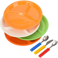 BabyLum 4 Set Of 3-Divided Plates, Includes 1 Set Interlocking Brick Stainless Steel Utensils, For Picky Eater