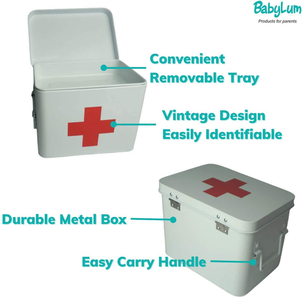 White medial metal storage box