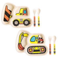 Excavator and Bulldozer Bamboo Compartment Plate Dinnerware for kids