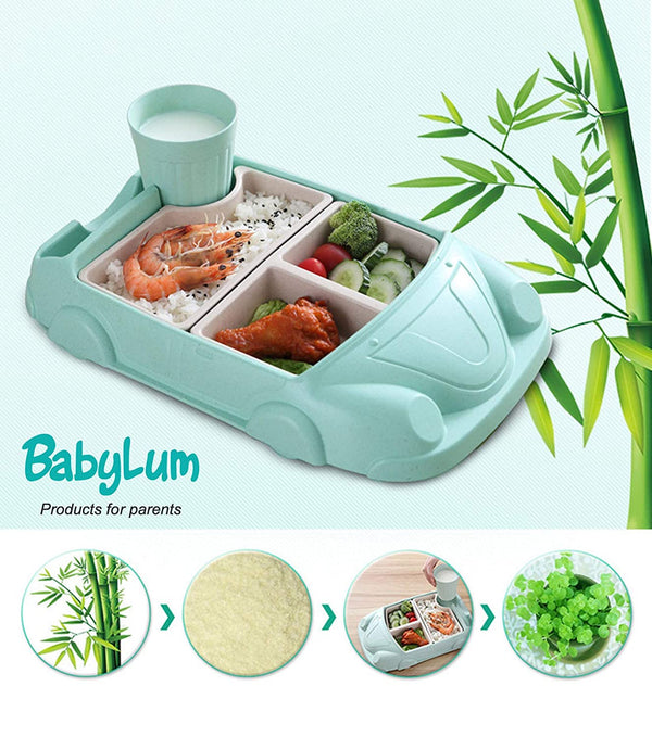 BabyLum Divided Plate Car Dinnerware - Green and Blue Set