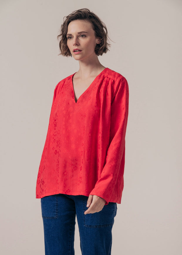 BLOUSE-TUNIQUE ROUGE FONTANA