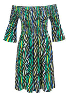 VESTIDO CASUAL CAMPESINO FRUNCIDO ESTAMPADO ANIMAL PRINT COLORES
