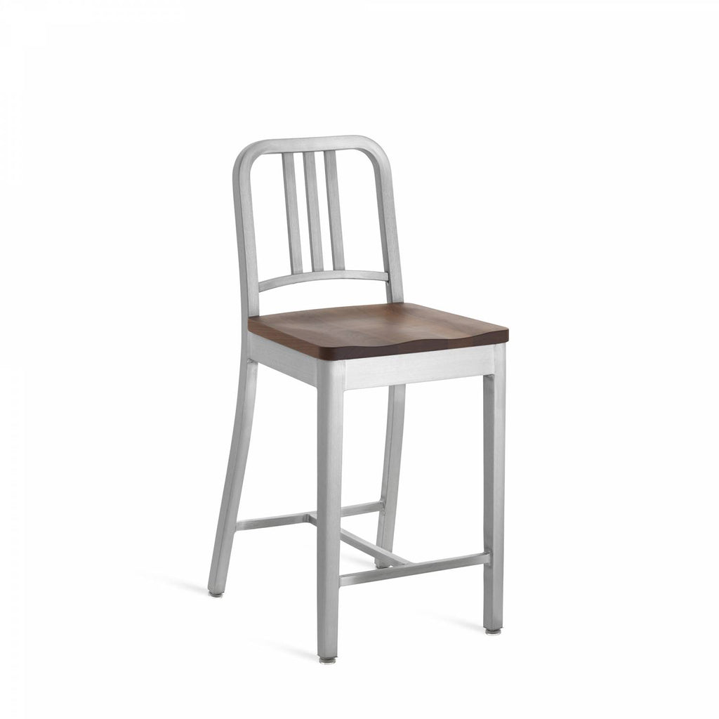 1104 Navy Stool w/ Wood Seat