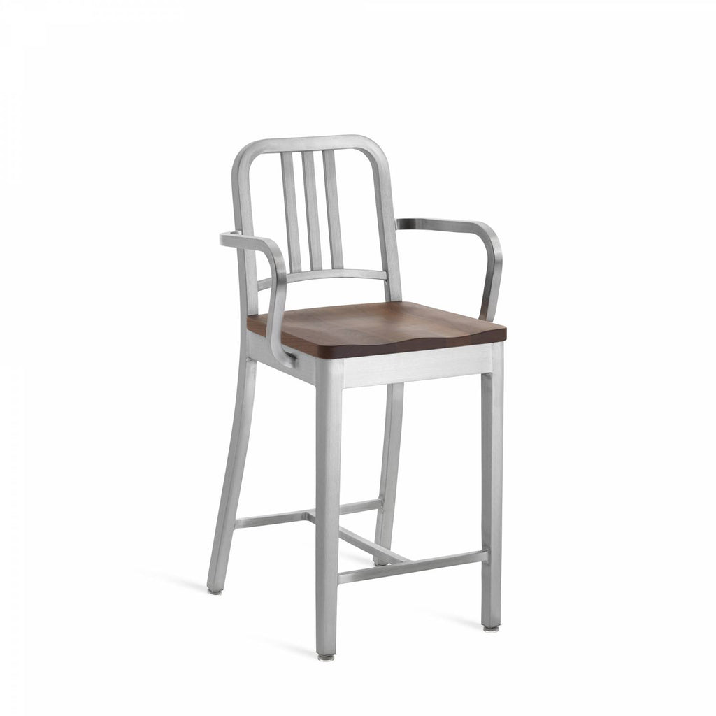 1104 Navy Stool w/ Wood Seat and Arms