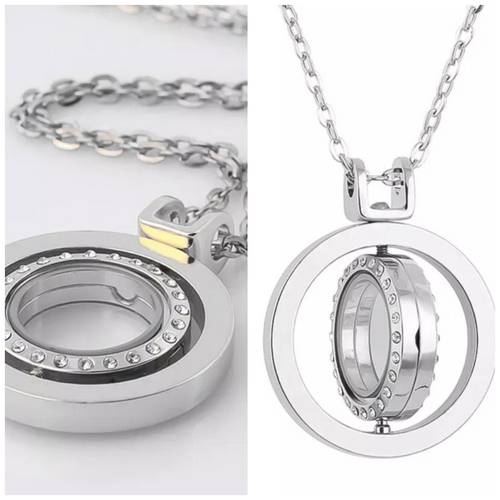 (SPECIALTY)Spinner locket necklace with chain.