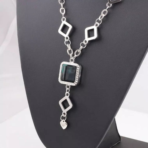 (SPECIALTY)square magnetic glass locket necklace