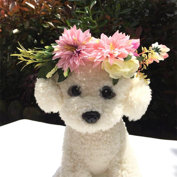Super Cute Flowered Dog Headband or Collar for Weddings & Special Occasions