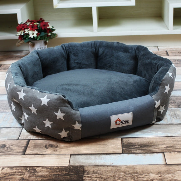 Stylish Soft Warm Pet Dog or Cat Bed 3 Sizes 2 Colors-Star Pattern