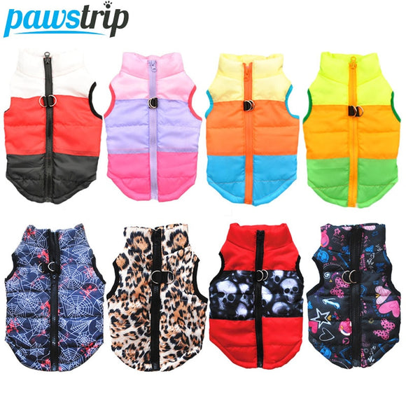XS-XL Cute Warm Winter Zip-up Quilted Dog Vest - Leash Rings - Variety Colors & Patterns