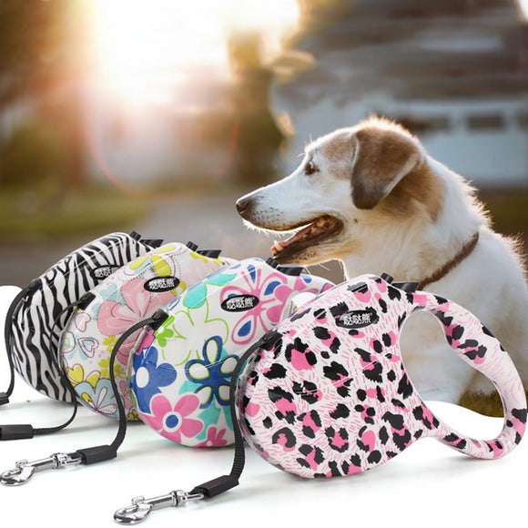 Colorful Patterned Nylon Retractable Dog Leash or Colored Cushion Handle Nylon Rope Leash w/Reflective Stitching