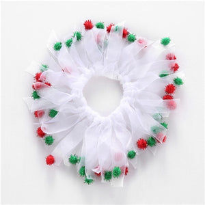 Christmas Holiday Cat or Dog Decorative Collar - Green w/Jingle Bells & Stars or White with Pom-poms