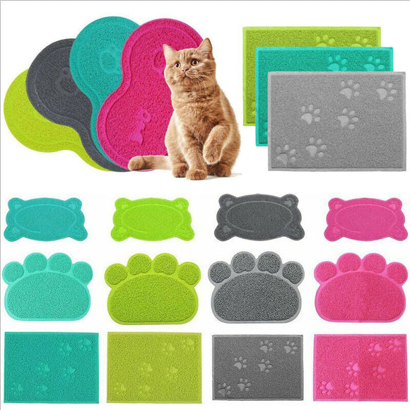 Dog or Cat Feeding or Litter Box Mat - 4 Colors & Shapes:  Single or Double Oval, Paw, or Rectangular