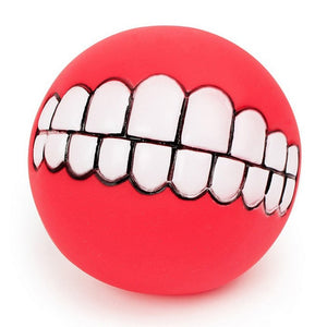 Funny Pets - Dog Chew Ball Toy with Teeth Image & Squeaking for Small to Large Dogs