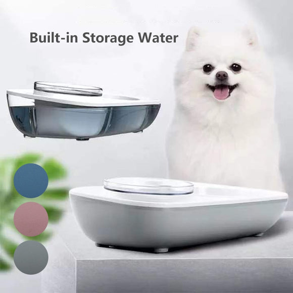 Angled Food & Water Bowl Station w/Automatic Water Dispenser for Dogs & Cats