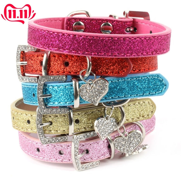 Sparkly Leather Dog Collar with Crystal Heart Pendant