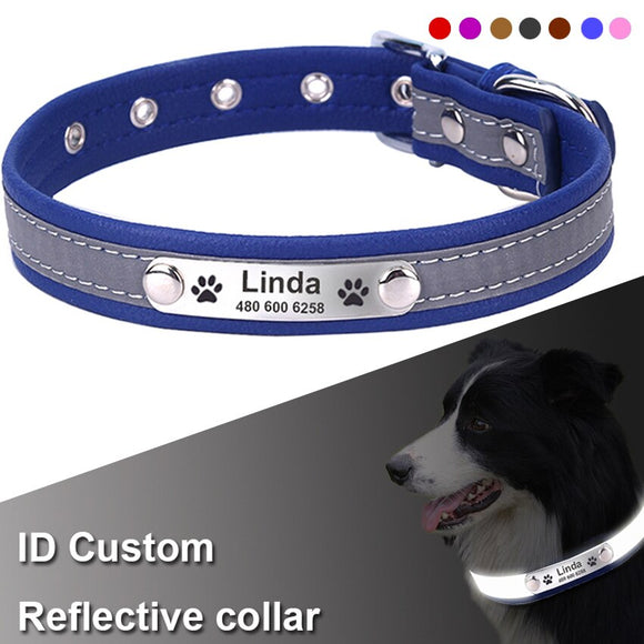 Leather Reflective Dog Collar with Custom Personalized Engraved ID Tag