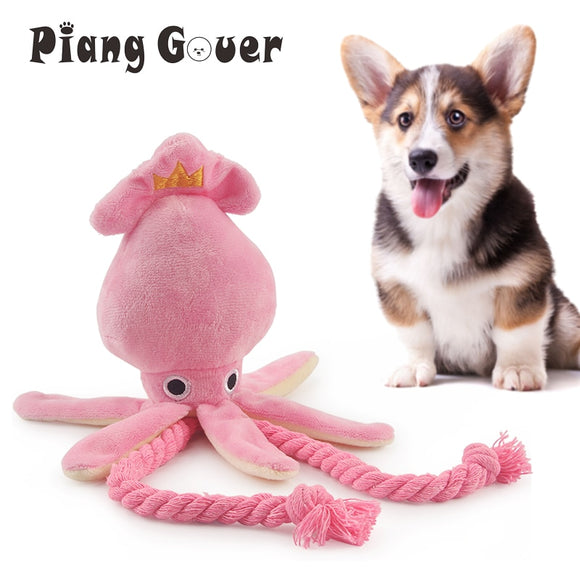 Cute, Pink, Plush, Squid, Squeaky, Dog Chew Toy with Pull Ropes