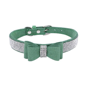 Adjustable Rhinestone Jeweled Leather Dog Collar with Colored Bow