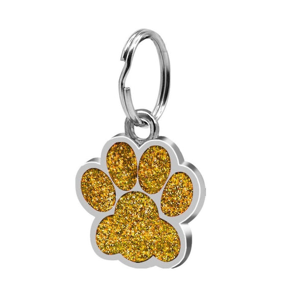 Glitter Paw Print Stainless Steel Pendant Dog or Cat ID Tag