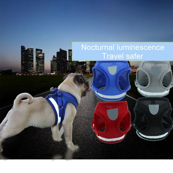 Adjustable Reflective Polyester Mesh Harness Vest for Small Medium Dogs