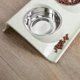 Stainless Steel Double Food & Water Bowls - 3 color choice for base