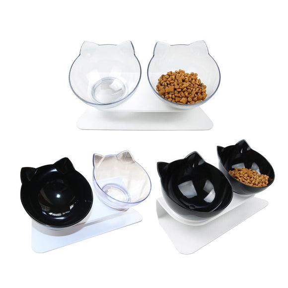 Elevated & Angled, Non-Slip Double Bowl Platform w/Plastic Water/Food Bowls for Dogs & Cats