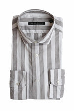 BRIAN DALES - Casual Shirt Striped - Taupe / White