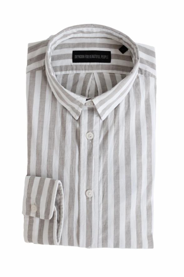 DRYKORN - Loken Shirt - Beige / White Striped