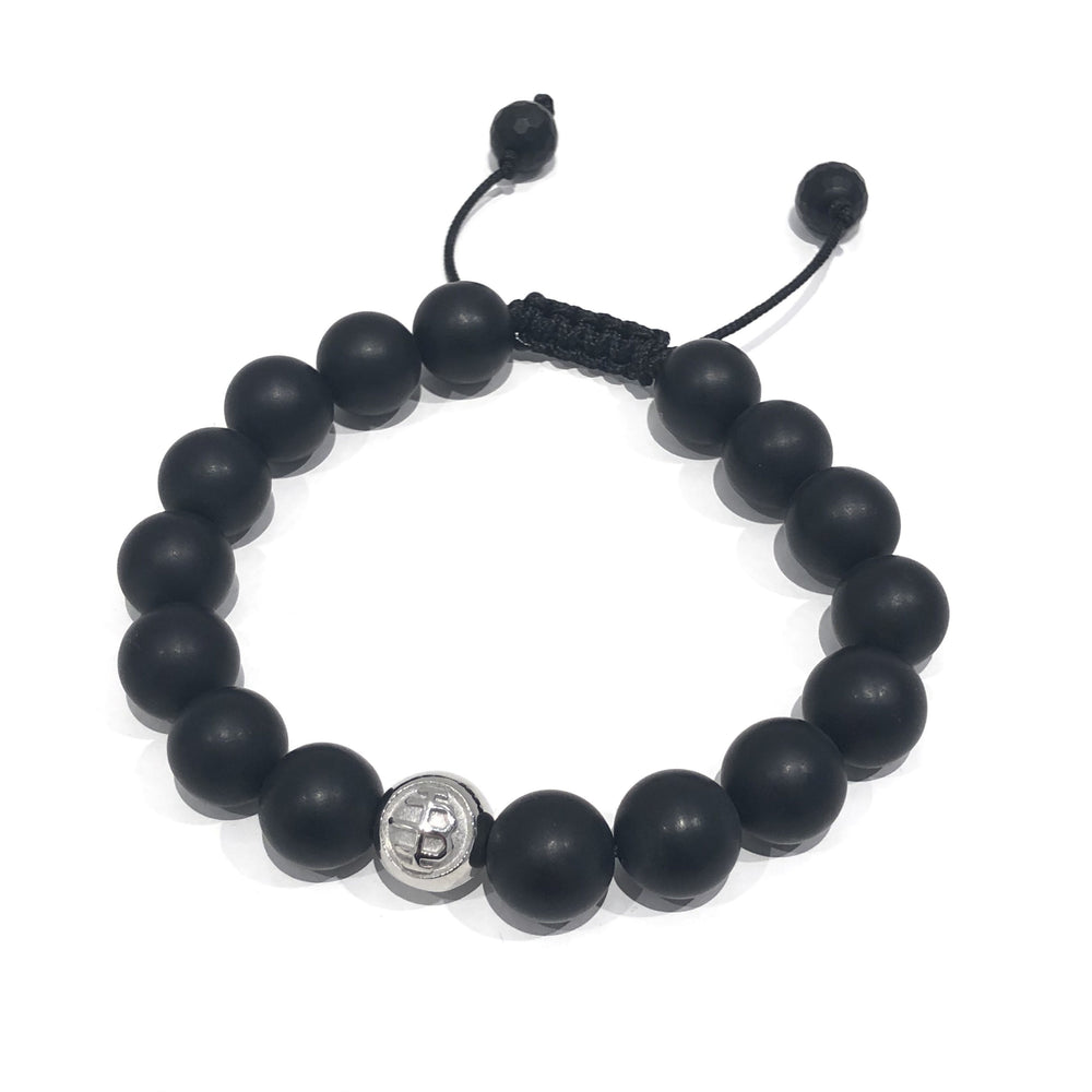 Exclusive Striped Matte Black Logo Exclusive Icon Bracelets