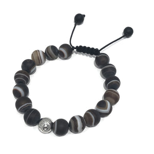 Exclusive Striped Matte Brown Logo Exclusive Icon Bracelets
