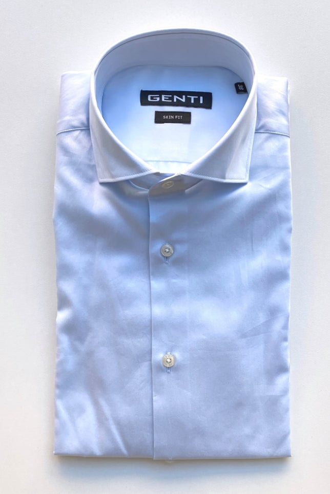 GENTI - Basis Hemd Stretch Blauw Hemden Genti