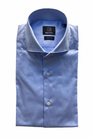 GENTI - Basis Hemd Stretch Blauw New Hemden Genti