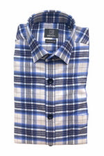 GENTI - Shirt Checkered - Blue / Ecru