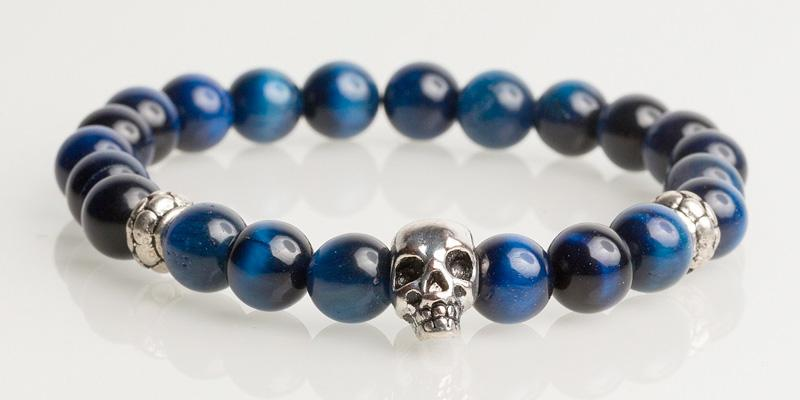 Iconbracelets Blue Tigereye skull