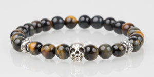 Iconbracelets Brown Yellow Tigereye skull 8MM Icon Bracelets