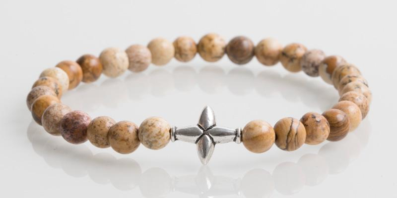 Iconbracelets Cross Beige