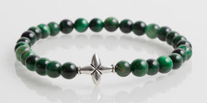 Iconbracelets Cross Green Tiger Eye 6MM Icon Bracelets