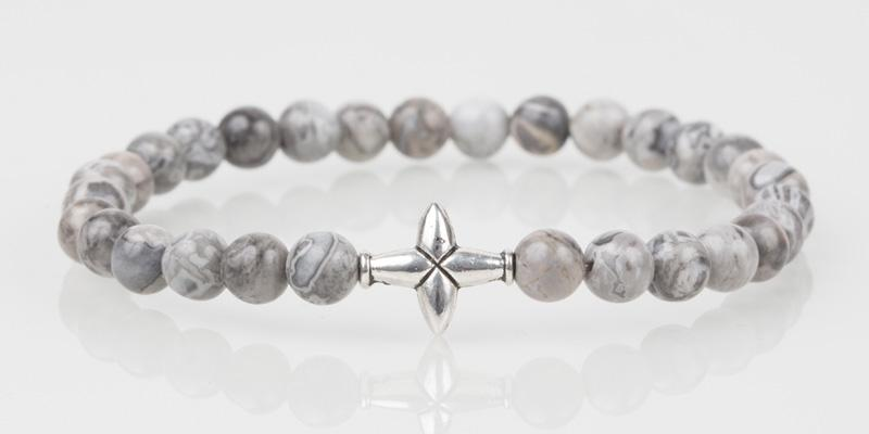 Iconbracelets Cross Grey 6MM Icon Bracelets